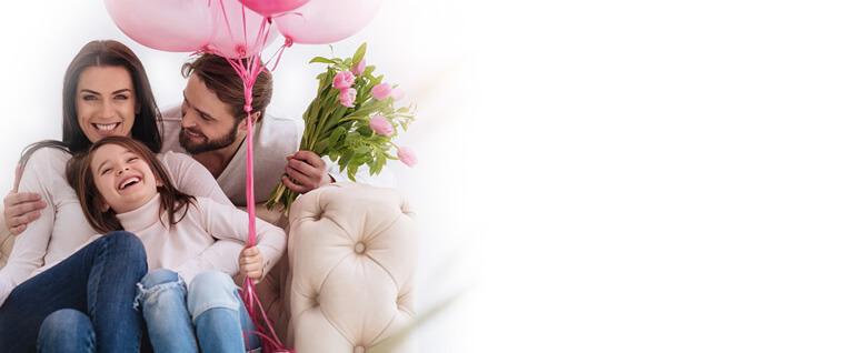 Balony z helem i kwiaty